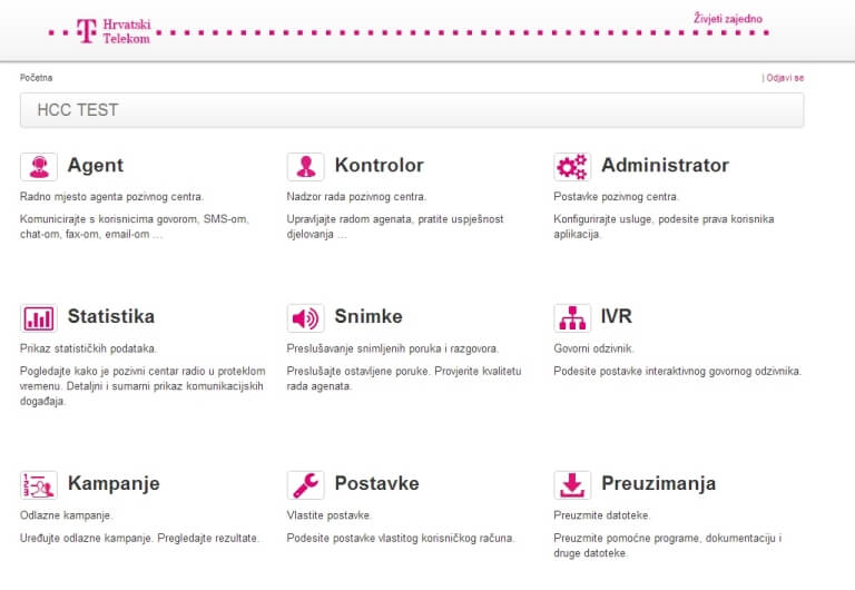 Cloud Call Centar aplikacija - Hrvatski Telekom